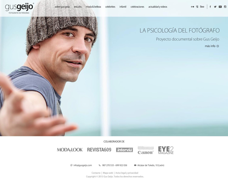 Diseño de página web de Gus Geijo, fotografía de personas - formato blanco