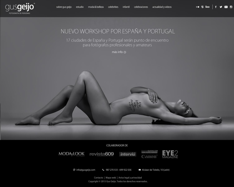 Diseño de página web de Gus Geijo, fotografía de personas