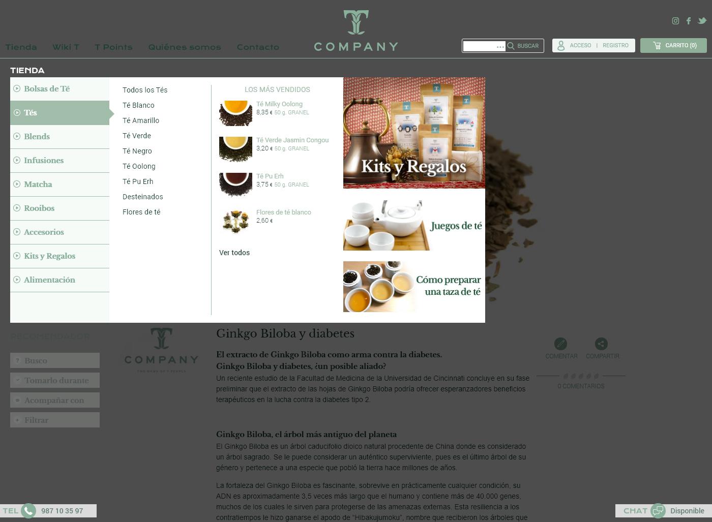 TCompany Detalle menú