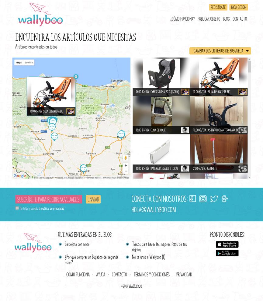 Búsqueda geolocalizada de wallyboo. Plataforma para el alquiler y venta de objetos de segunda mano de niños y bebés