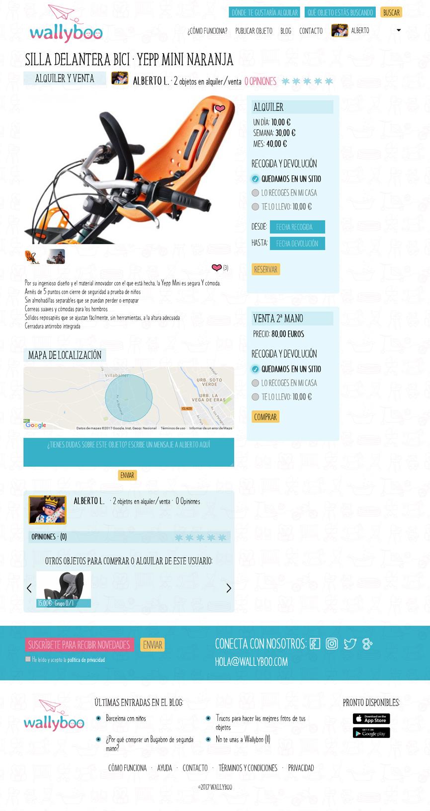 Ficha de objeto de wallyboo. Plataforma para el alquiler y venta de objetos de segunda mano de niños y bebés