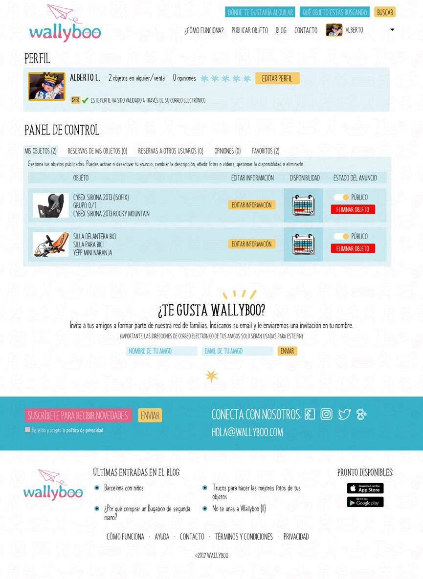Panel de control privado de wallyboo. Plataforma para el alquiler y venta de objetos de segunda mano de niños y bebés